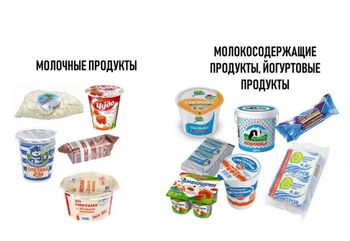 Молочные и молокосодержащие продукты