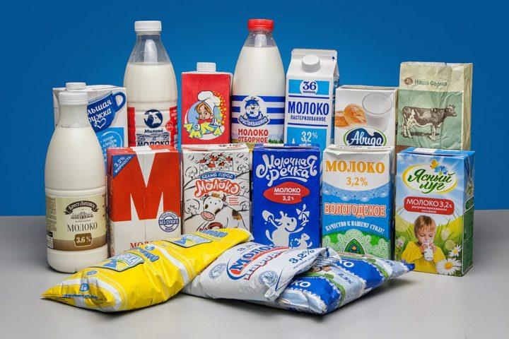 Различные упаковки молока