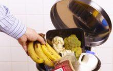 Мужчина выбрасывает хорошую еду в мусорку