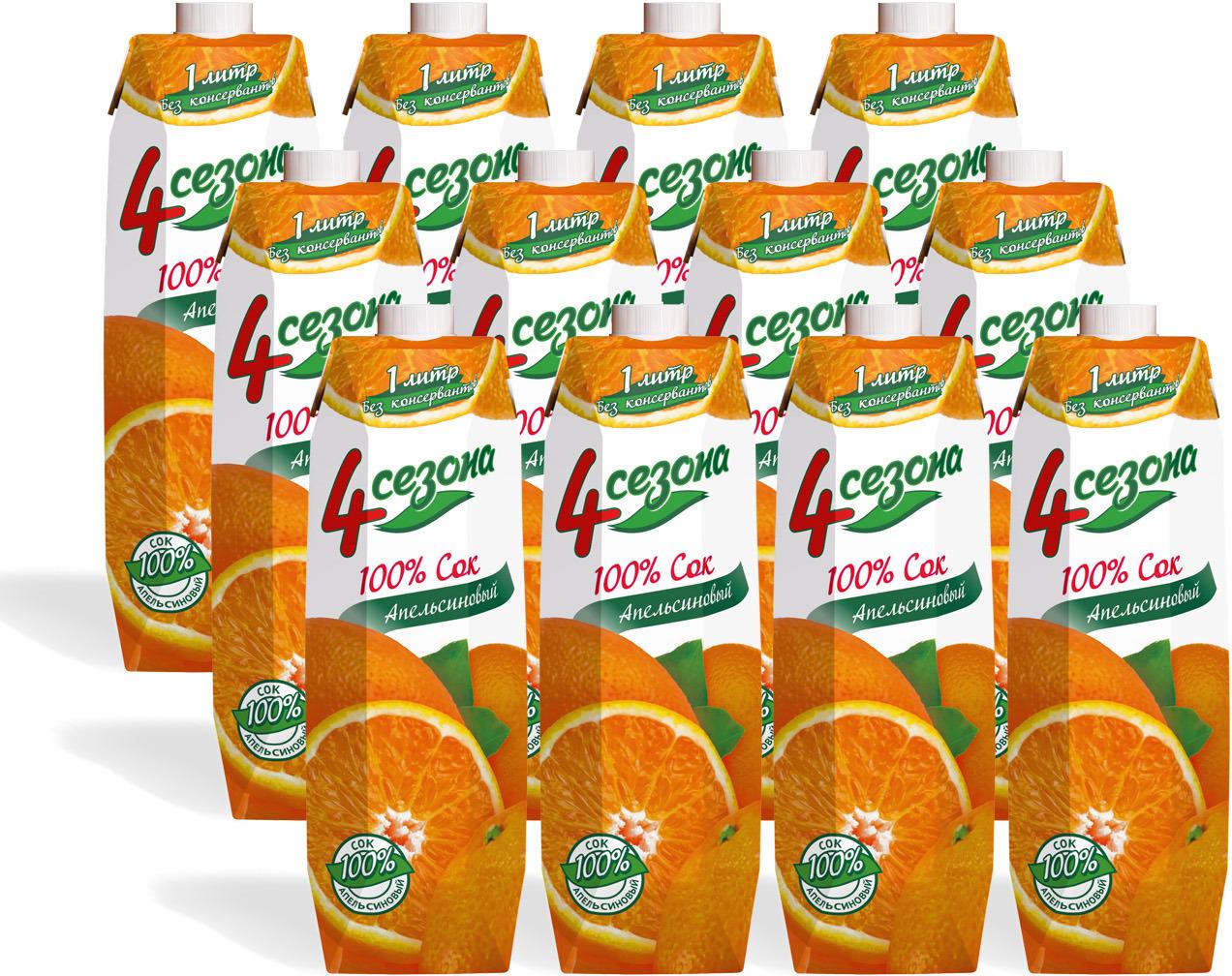 Апельсиновый сок от торговой марки «4 сезона»