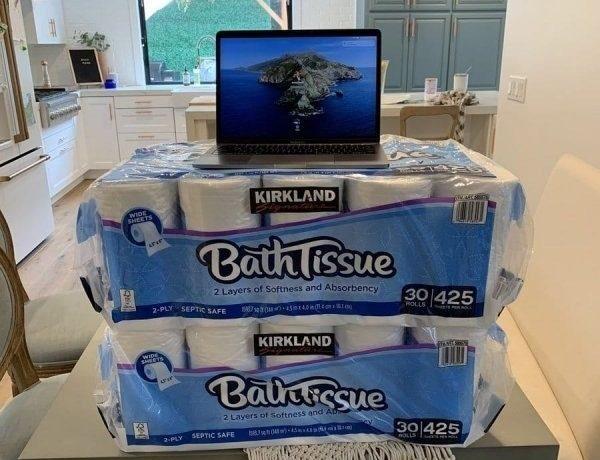 Ноутбук на упаковке туалетной бумаги