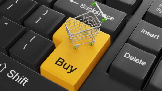 Инфографика - клавиатура и корзина для покупок