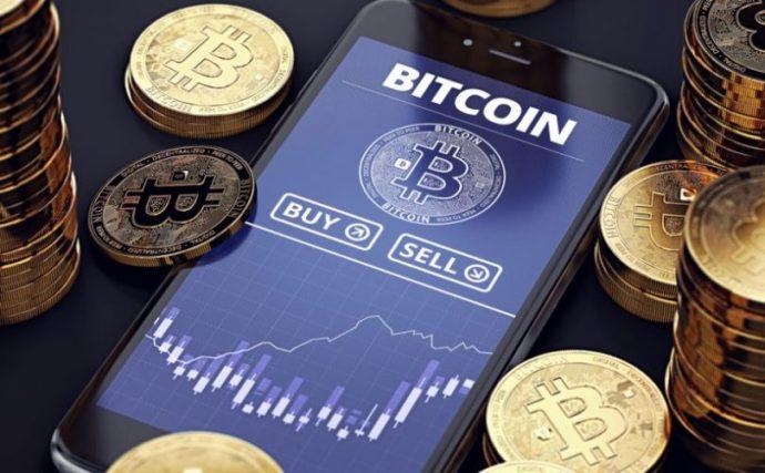 График покупки и продажи биткоинов в смартфоне