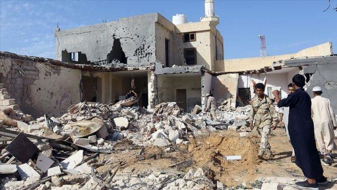 Разрушенные дома в Ливии