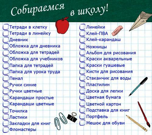 Список вещей для школы