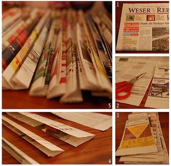 Пошаговое изготовление корзинки из газет