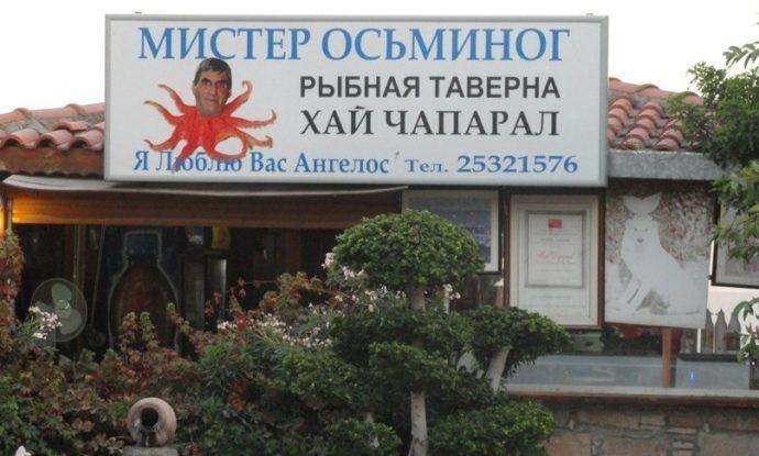 Реклама таверны с осьминогом и лицом хозяина