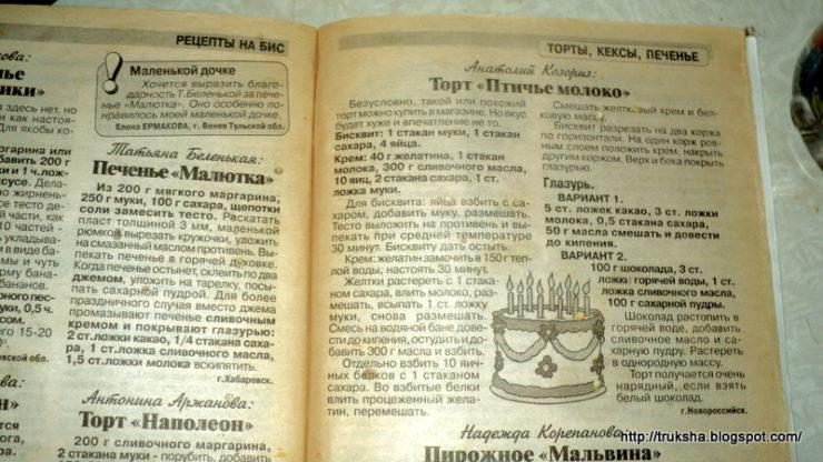 Рецепты в журнале
