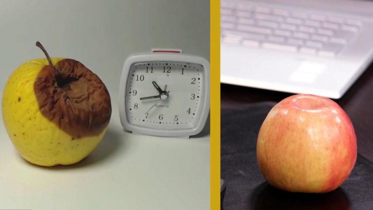 Яблоки, часы и клавиатура