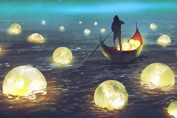 Человек в лодке плывет среди горящих шаров