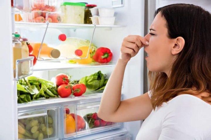 Девушка зажимает нос, открыв холодильник