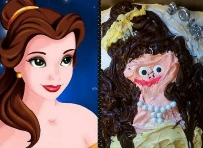 Торт с изуродованным изображением диснеевской красавицы