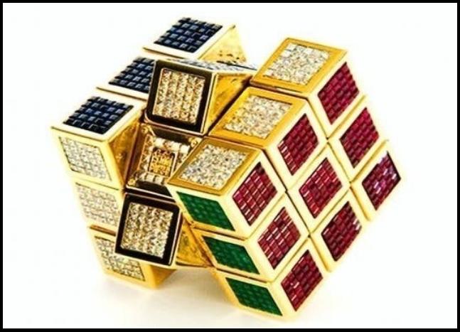 Кубик Рубика, инкрустированный драгоценными камнями