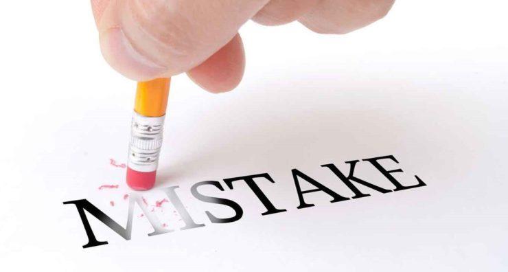 Стирание ластиком cлова Mistake