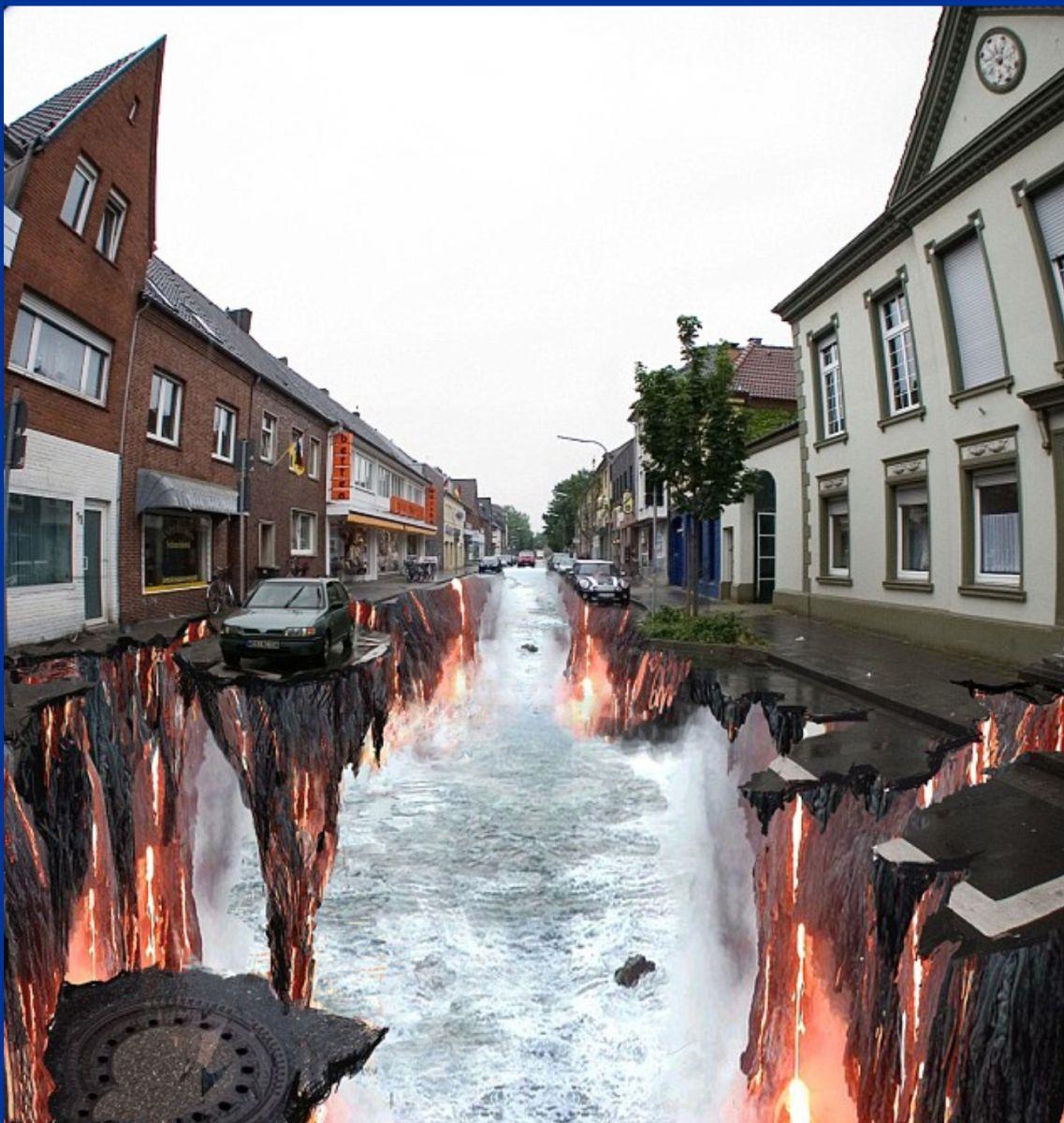 3D-эффект на асфальте на европейской улице