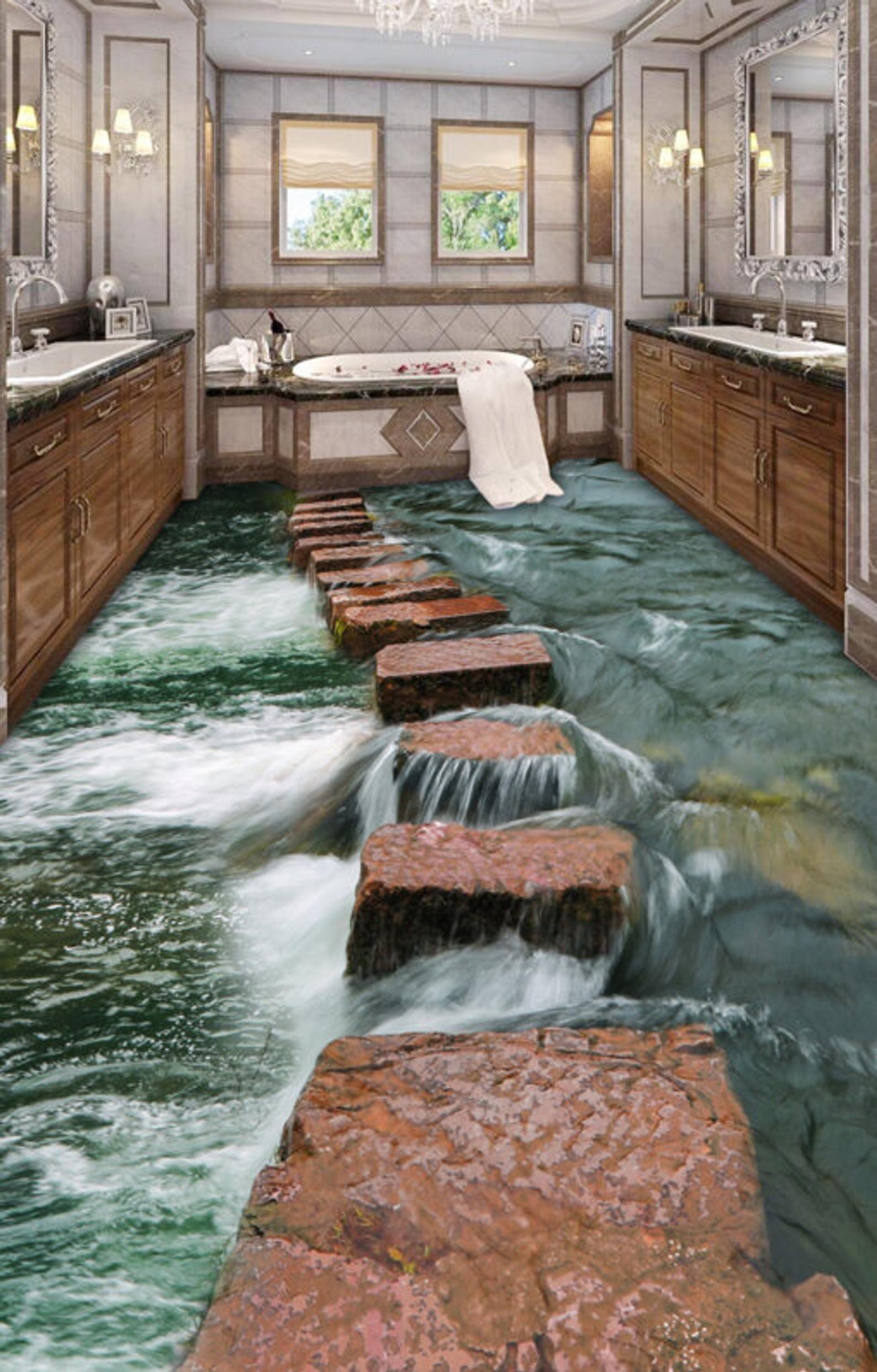 3D-полы в ванной комнате