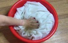 Замачивание белья в тазу